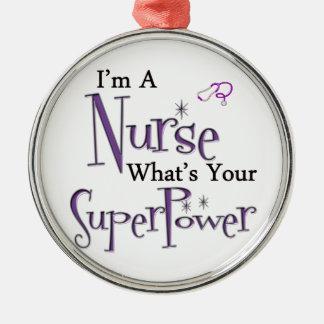 Superpotencia de la enfermera adorno redondo plateado