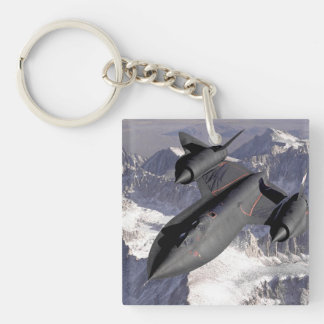 Supersonic Fighter Jet Single-Sided Square Acrylic Keychain