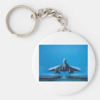supersonic transport basic round button keychain