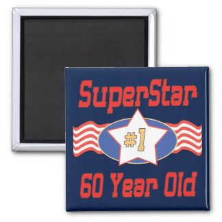 Superstar 60th Birthday 2 Inch Square Magnet