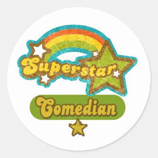 Superstar Comedian Round Stickers