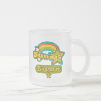 Superstar Engraver 10 Oz Frosted Glass Coffee Mug