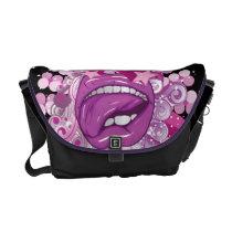 dooni, trendy, girly, vector, lips, tongue, stars, licking, cool, funky, Rickshaw messenger bag with custom graphic design
