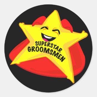 superstar groomsmen funny sticker! classic round sticker