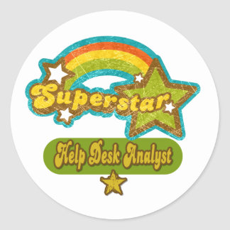 Superstar Help Desk Analyst Classic Round Sticker