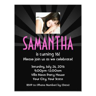 Superstar Lights Photo Birthday Party Invitations