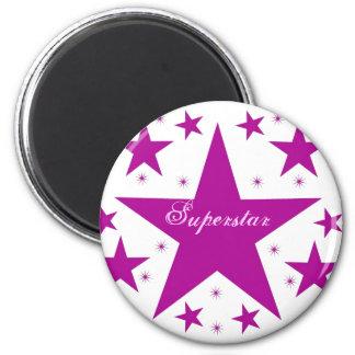 Superstar Magnet, Purple 2 Inch Round Magnet