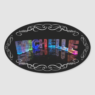 Superstar Michelle -  Name in Lights (Photograph) Oval Sticker