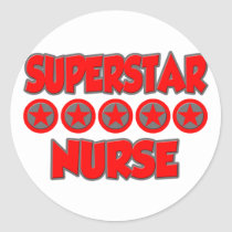 Superstar Nurse Classic Round Sticker