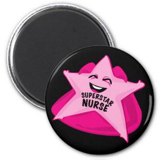 superstar nurse funny magnet! 2 inch round magnet