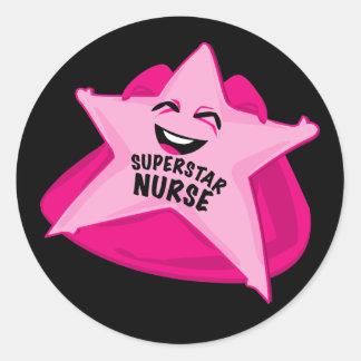 superstar nurse funny sticker! classic round sticker