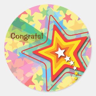 Superstar Rainbow Fun Party Favor Label / Sticker