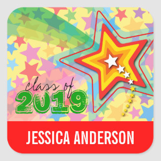 Superstar Rainbow Graduation Sticker