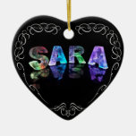 Superstar Sara -  Name in Lights (Photograph) Ceramic Ornament