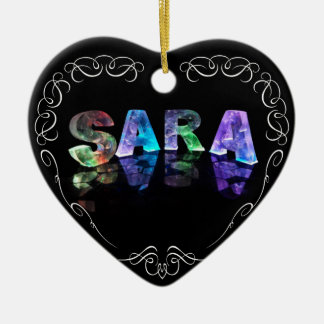 Superstar Sara -  Name in Lights (Photograph) Double-Sided Heart Ceramic Christmas Ornament