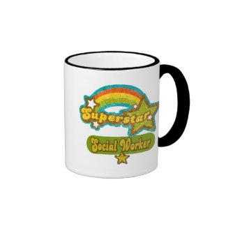 Superstar Social Worker Ringer Coffee Mug