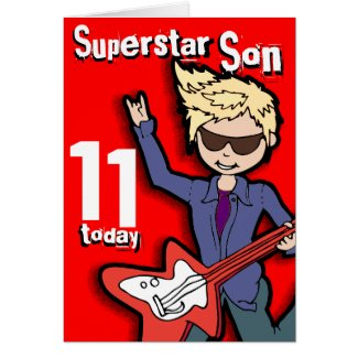 Superstar Son 11th birthday red blonde boy card