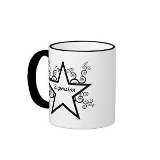 Superstar Swirls Mug, Black Ringer Coffee Mug