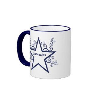 Superstar Swirls Mug, Dark Blue Ringer Coffee Mug