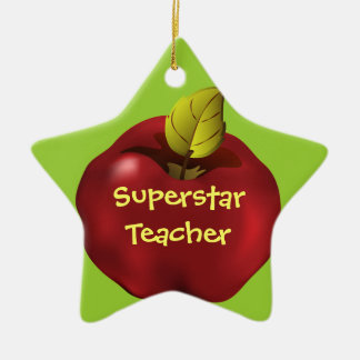 Superstar Teacher Red Apple Christmas Double-Sided Star Ceramic Christmas Ornament
