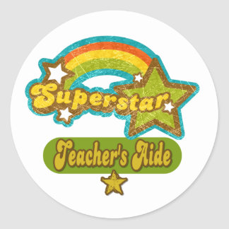 Superstar Teacher's Aide Classic Round Sticker