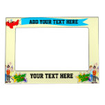 Superstar text with teenage boys cartoons picture frame magnet