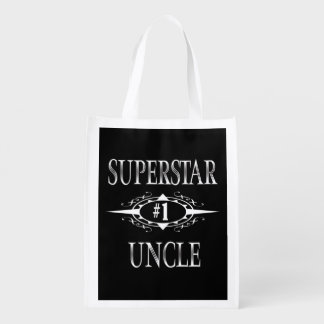 Superstar Uncle Gift Ideas Reusable Grocery Bag