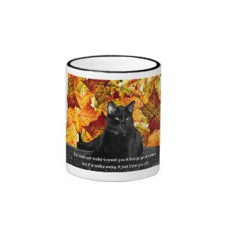 Superstición felina taza de dos colores