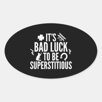 Supersticioso Pegatina Ovalada
