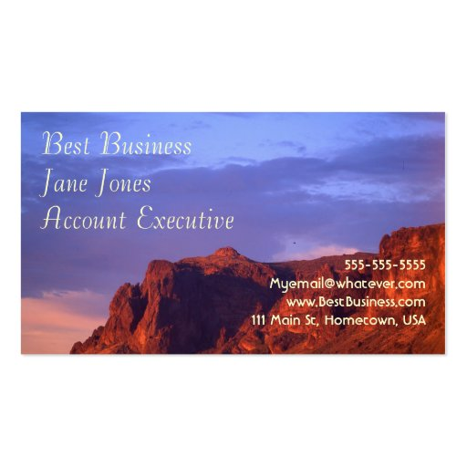 Superstition Mountain at sunset Business Card