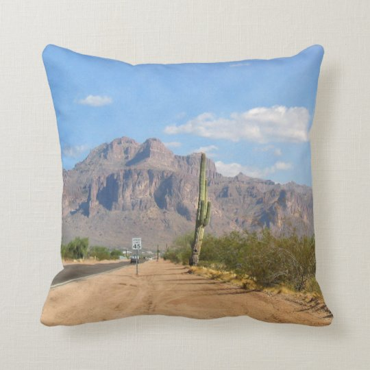 Superstition Mountain - Panoramic Throw Pillow