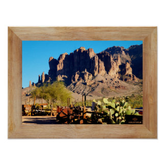 Superstition Mountain - wood frame mat Poster