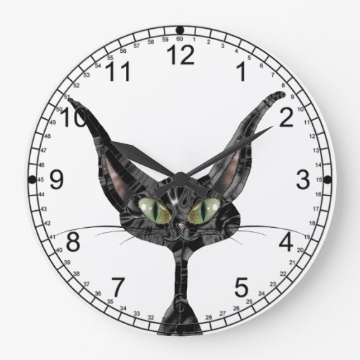 Superstitious Black Cat Large Clock
