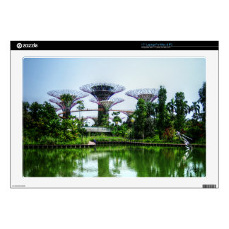 "Supertrees and dragonfly lake 17"" laptop skin"