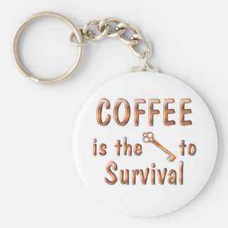 Supervivencia del café llavero redondo tipo pin