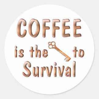 Supervivencia del café etiqueta redonda