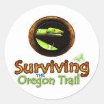 Supervivencia del rastro de Oregon Etiquetas Redondas