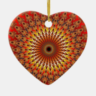 Supervivencia - fractal adorno navideño de cerámica en forma de corazón