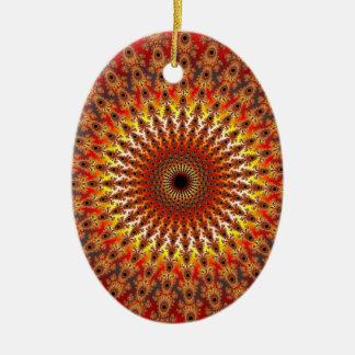 Supervivencia - fractal adorno navideño ovalado de cerámica