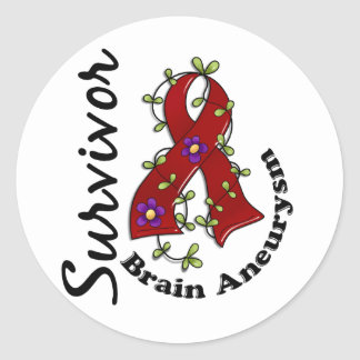 Superviviente 15 del Aneurysm del cerebro Pegatina Redonda