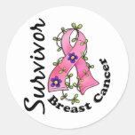 Superviviente 15 del cáncer de pecho etiquetas redondas