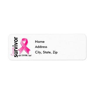 Superviviente 19 del cáncer de pecho etiquetas de remite