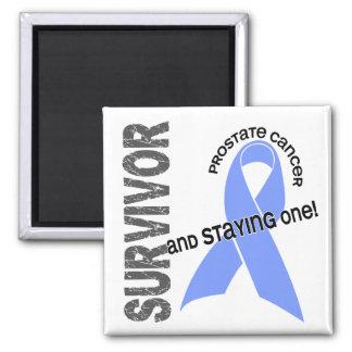 Superviviente 1 del cáncer de próstata imán cuadrado