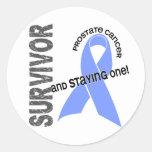 Superviviente 1 del cáncer de próstata pegatina redonda