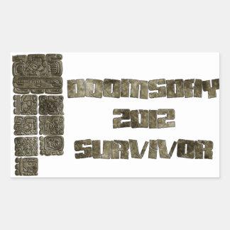 Superviviente 2012 del día del juicio final rectangular pegatina