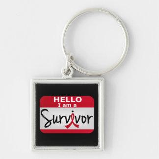 Superviviente 24.png del cáncer de sangre llavero cuadrado plateado