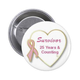 Superviviente 25 años y cuenta pin redondo 5 cm