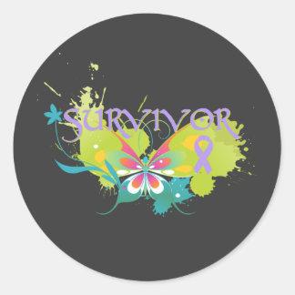 Superviviente abstracto del cáncer de la mariposa pegatinas