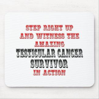 Superviviente asombroso del cáncer testicular en l alfombrilla de ratones