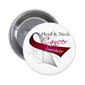 Superviviente - cáncer de cabeza y cuello pin redondo de 2 pulgadas
